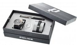 Police Gun Metal Box mit Uhr, Armband und Kugelschreiber